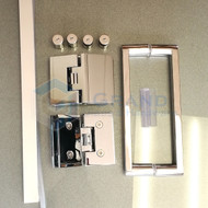 Corner frameless glass shower hardware package
