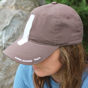 "Comfy brown cap with the white blaze splashed on the front and ""Appalachian Trail"" around the brim."