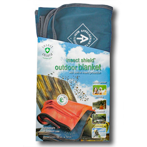Keep mosquitoes, ticks, fleas, and flies at bay using this Insect Shield outdoor blanket with the A.T. diamond.