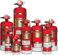 """Fire Extinguisher, 1100 Cu. Ft. Protection, 10"""" Dia., 21.6""""H"""