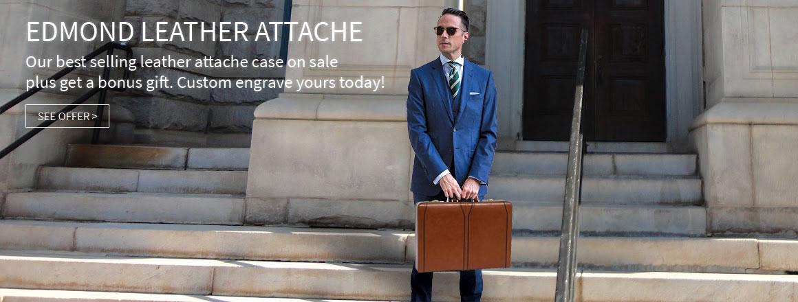Edmond Leather Expandable Attache Case