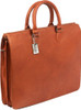 Claire Chase Sarita Briefcase Leather Laptop / Tablet Tote Saddle