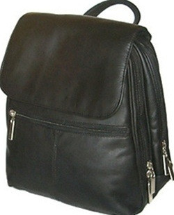 David King Women's Organizer Leather Backpack 351 Handbag Purse