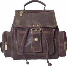 David King Distressed Mid Size Top Handle Leather Backpack