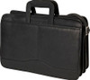 Edmond Leather Drop Handle Triple Section Portfolio 245 Black