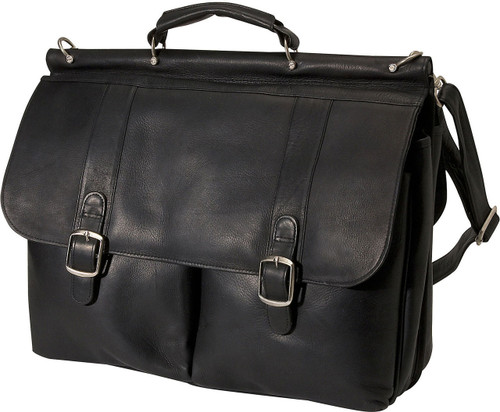 Edmond Leather Dowel Briefcase Black