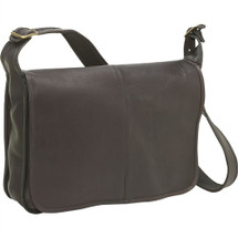 Le Donne Classic Flap Over Leather Messenger Bag 2116