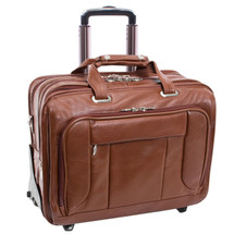 McKlein West Town Leather Briefcase on Wheels (Brown)