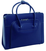 McKlein Lake Forest Italian Leather Briefcase Navy