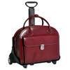 McKlein Glen Ellyn Wheeled Italian Leather Briefcase 9436 Red