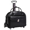 McKlein Glen Ellyn Wheeled Italian Leather Briefcase 9436 Black
