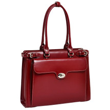 McKlein Winnetka Italian Leather Briefcase 9483 Red