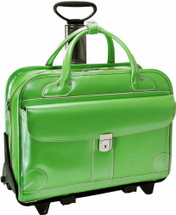 McKlein Lakewood Leather Briefcase on Wheels Green 96611
