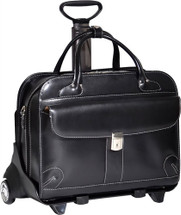McKlein Lakewood Leather Briefcase on Wheels Black 96615