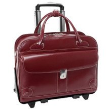 McKlein Lakewood Leather Briefcase on Wheels Red