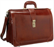 Mancini Luxurious Laptop Litigator Briefcase Brown
