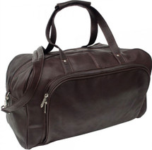 Piel Leather Carry On Duffel Bag Chocolate
