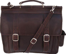 Piel Leather European Laptop Briefcase Chocolate