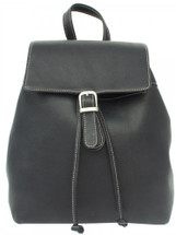 Piel Leather Top Flap Drawstring Backpack Black