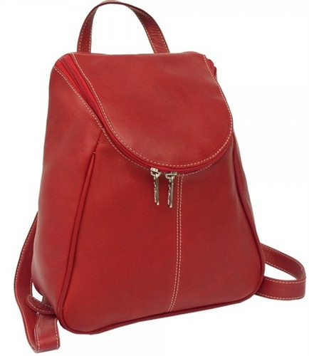 Piel Leather U Zip Backpack Red Loading Zoom