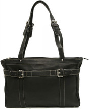 Piel Leather Belted Computer Tote Black