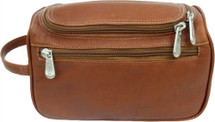 Piel Leather U-Zip Toiletry Kit Saddle