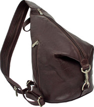 Piel Leather Three-Zip Hobo Sling Chocolate