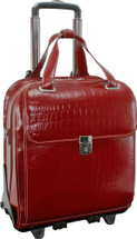 Siamod Novembre Italian Croco Leather Vertical Wheeled Case