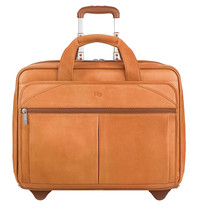 "Solo Classic Collection 15.6"" Leather CheckFast Rolling Case Tan"