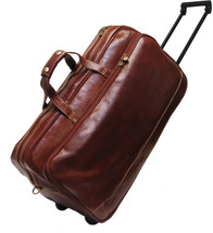 Floto Milano Trolley Small Italian Leather Wheeled Travel Bag Brown
