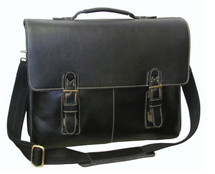 Amerileather Classical Leather Organizer Briefcase Black