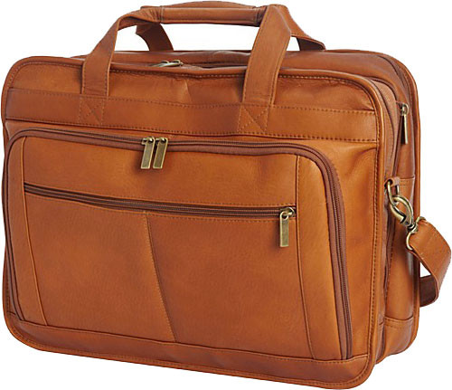Edmond Leather Deluxe Large Expandable Briefcase Tan