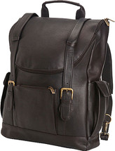 Edmond Leather Deluxe Leather Backpack Briefcase ME-155 Chocolate