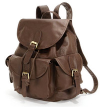 Amerileather Urban Buckle-Flap Backpack Dark Brown