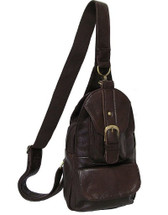 Amerileather Grylls Petite Sling Purse Dark Brown