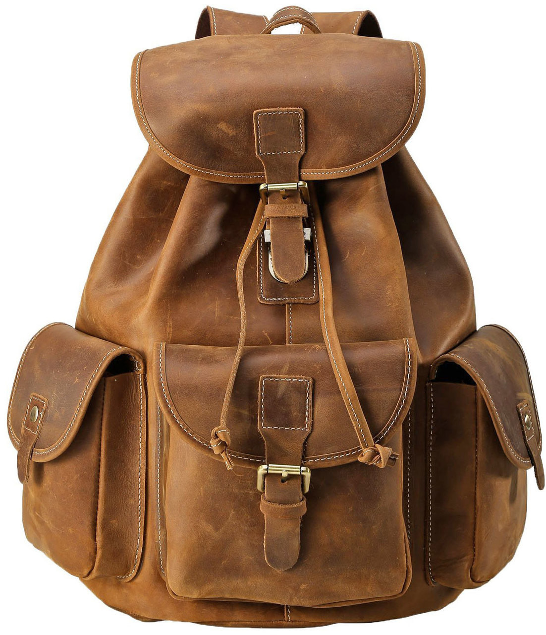 Pratt Leather Vintage Backpack Mocha Loading Zoom