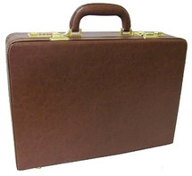 Amerileather Expandable Executive Faux Leather Attache Case Brown