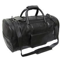 Amerileather Leather 20-inch Dual Zippered Duffel 3704 - Black