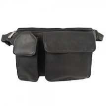 Piel Leather Waist Bag with Phone Pocket 2120 - Black