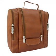 Piel Leather Hanging Travel Toiletry Kit 2460 - Saddle