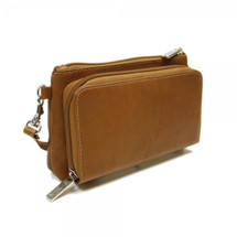 Piel Leather Shoulder Bag/Wristlet 2860 - Saddle