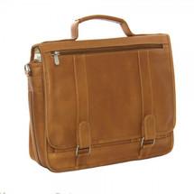 Piel Leather Double Loop Expandable Laptop Briefcase 3004 - Saddle