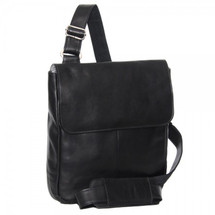 Piel Leather Tablet Cross Body Bag 3009 - Black
