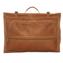 Piel Leather Tri-Fold Garment Bag 3035 - Saddle