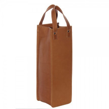 Piel Leather Single Wine Tote 3058 - Saddle1