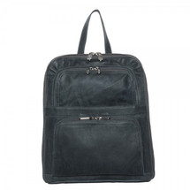 Piel Leather Slim Tablet Backpack with Front Pockets 3067 - Charcoal Gray