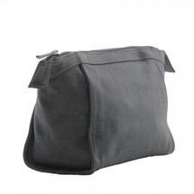 Piel Leather Zippered Travel Kit 3068 - Charcoal Gray