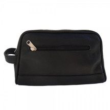 Piel Leather Top-Zip Toiletry Kit 7752 - Black