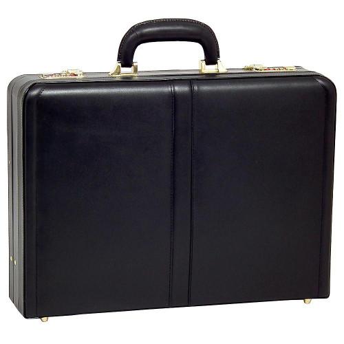 Edmond Leather Expandable Attache Case 9158 Black