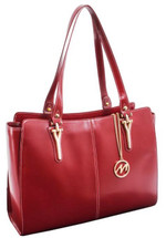 McKlein Glenna Leather Shoulder Tote 9755 Red